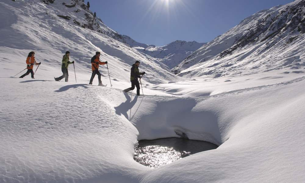 Hiking in the snow on many secretive paths